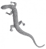 Silver Plated Faux Marcasite Lizard Statement Brooch
